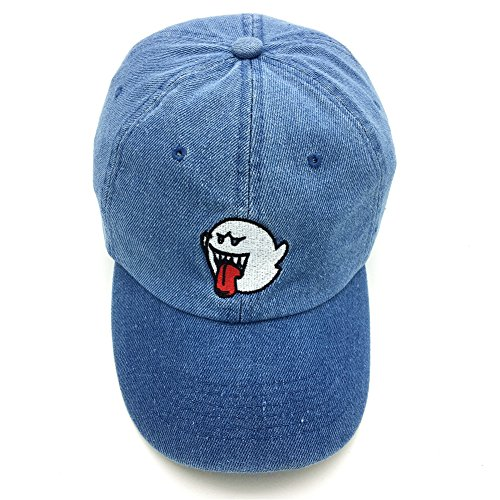 e83694f93b2 Distressed Boo Mario Ghost Baseball Cap 3D Embroidery Dad Hats Adjustable  Snapback Blue