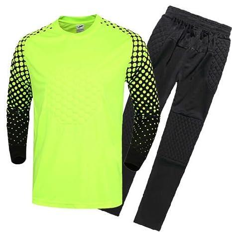 FidgetFidget Mens Soccer Goalkeeper Sponge Protector Suit Camisetas De Futbol Neon GreenUS S/Asian L