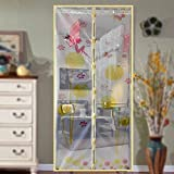 Magnetic Fly Screen Door, Dandelion Pattern Magnetic Fly Insect Screen Door Screen Mesh Curtain Fits Door, Magic Curtain Door Mesh (90210,beige)