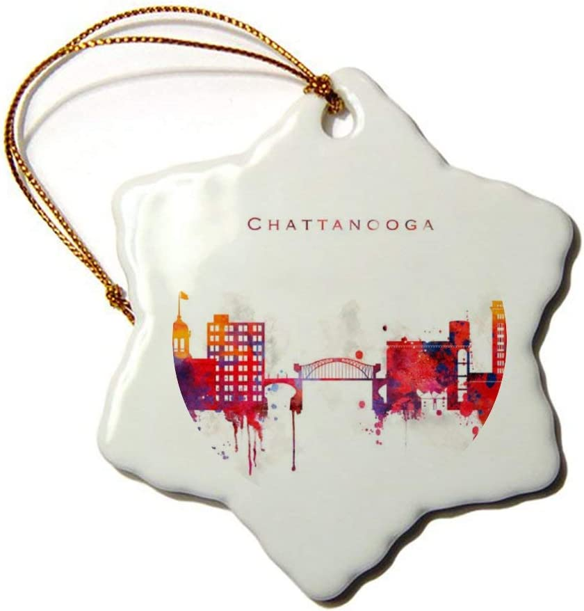 Fhdang Decor Chattanooga Souvenirs Snowflake Porcelain Christmas Ornament Double-Sided Ceramic Ornament,3 Inch