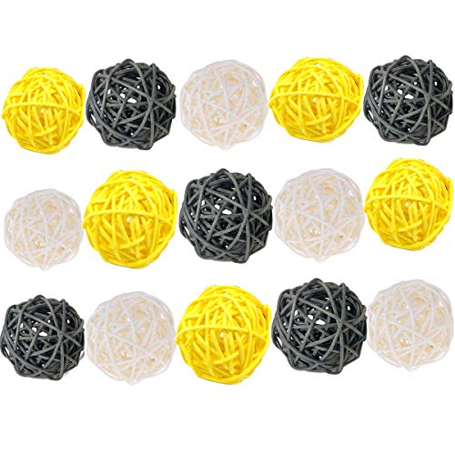 Allheartdesires 15pcs Mixed Gray Yellow White Wicker Rattan Ball Wedding Christening Baby Shower Nursery Mobiles Decoration