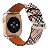 38/40mm Leather Watch Band for Apple Watch Series 1 2 3 4 Plaid Strap for iwatch Belt Wristwatch Bracelet. (Plaid 1-38/40)