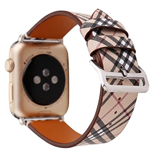 Price comparison product image 38mm Leather Watch Band for Apple Watch Series 1 2 3 Plaid Strap for iwatch Belt Wristwatch Bracelet. (Plaid 1-38)