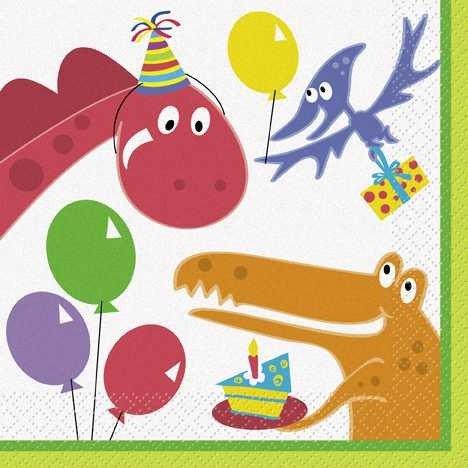 Dinosaur Birthday Lunch Napkins (Napkin Dinosaur)