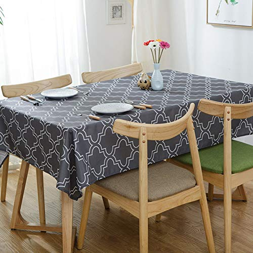 DW&HX Waterproof Polyester Tablecloths,Stain Resistant Spill-Proof Table Cover for Kitchen Dinning Tabletop Decoration -Gray (Best Dw Stains)