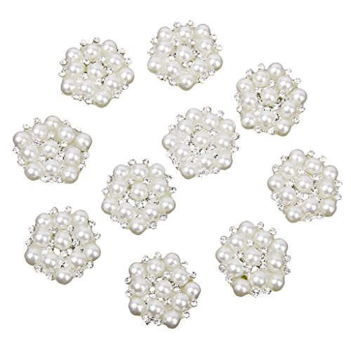 CJESLNA 10pcs 20mm Rhinestone Flower Embellishments Button Flatback