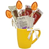 Cottage Lane Hot Tea Mug Boxed Set Featuring Tazo Herbal Tea Bags, Honey Spoon Stirrers, Nonni's Biscotti, and Biscoff Lotus Cookies (Passion Herbal Tea)
