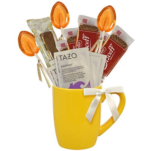 Cottage Lane Hot Tea Mug Boxed Set Featuring Tazo Herbal Tea Bags, Honey Spoon Stirrers, Nonni's Biscotti, and Biscoff Lotus Cookies (Passion Herbal Tea) (Sampler Biscotti)