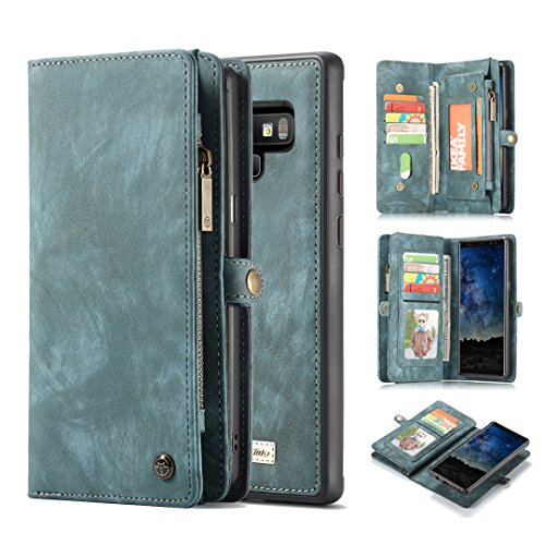 - Galaxy Note 9 Wallet Case,AKHVRS Handmade Premium Cowhide Leather Wallet Case,Zipper Wallet Case [Magnetic Closure]Detachable Magnetic Case & Card Slots for Samsung Galaxy Note 9 - Blue
