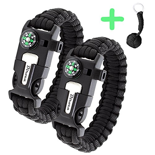 Paracord Bracelet Survival Kit | Black 550 Parachute Cord | 5 in 1 Tactical Set w/Compass, Fire Starter, Knife, Whistle & Rescue Rope | Outdoor Emergency Gear | Waterproof | (Military Waterproof First Aid Kit)