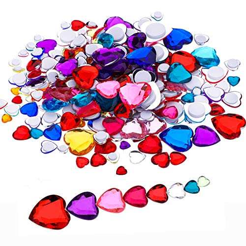(Richness Heart Adhesive Stickers Heart Shape Gem Stickers in 7 Different Sizes, Multiple Colors Heart Jewels for Crafts Pack of 255pcs)