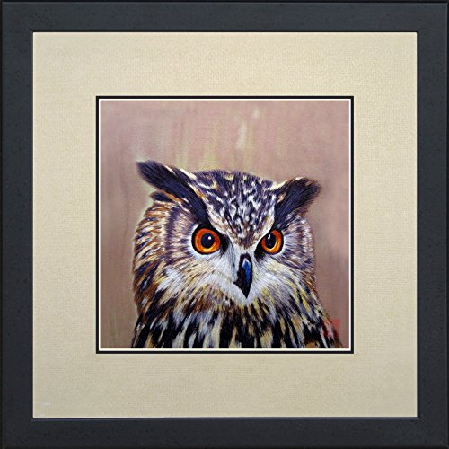 King Silk Art 100% Handmade Embroidery Framed Long-Eared Brown Owl Oriental Wall Hanging Art Asian Decoration Tapestry Artwork Picture Gifts 31084WFB1