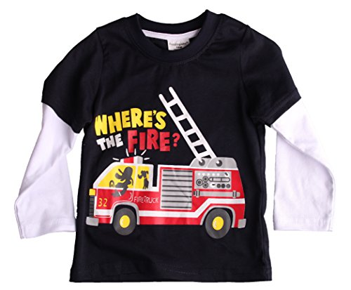 Blue Fire Engine - Baby Boy/ Toddler / Kid's Long Sleeve T-Shirts Blue Fire-engine Size T8