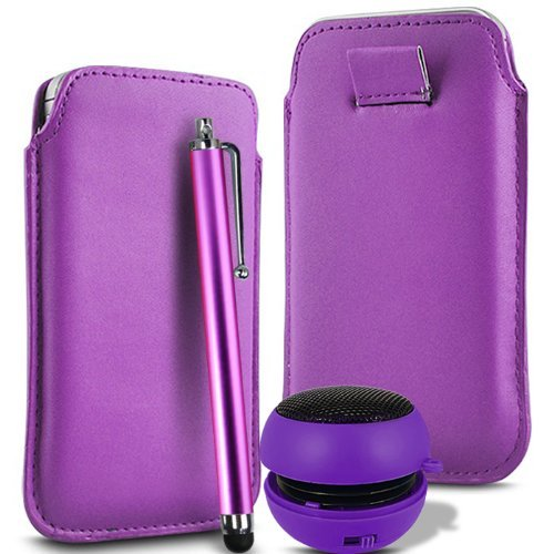 N4U Accessories Light Purple Superior Pu Soft Leather Pull Flip Tab Case Cover Pouch , High Sensitive Stylus Pen & Rechargeable Mini Pocket Size Portable Speaker For Blackberry 9500 - Leather Blackberry Pocket 9500