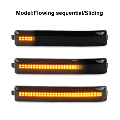 Gempro 2Pcs Sequential Amber LED Side Mirror Marker Light Lamp Assembly For Ford F-150 Raptor SVT, Replace OEM Mirror Marker Lamps: Automotive
