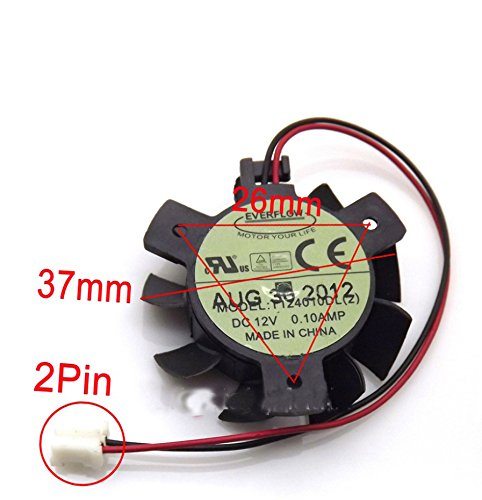 T124010DL 12V 0.1A 37mm 2 Pin Replacement Cooling Fan For HD4550 HD5570 Graphics Card Fan by Tebuyus (Image #2)