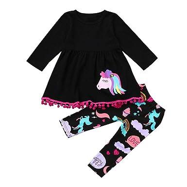62cdf2800025 Amazon.com  Baby Girl Kids Children Winter Clothes Outfit Cuekondy Long  Sleeve Cute Rainbow Horse Dress Top +Cartoon Long Pants Set  Clothing