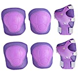 Kids Cycling Inline Roller Skating Protective Gear Set, Knee Pads Elbow Pads Wrist Guards for Boys and Girls Pack of 6 (Purple, Medium)