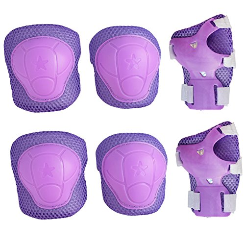 Kids Cycling Inline Roller Skating Protective Gear Set, Knee Pads Elbow Pads Wrist Guards for Boys and Girls Pack of 6 (Purple, Small)