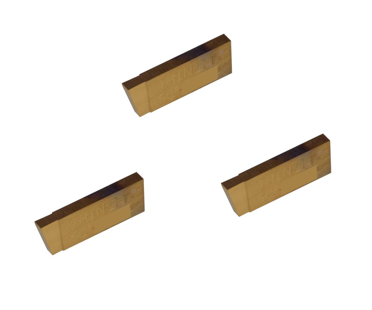 TiN Coated Carbide THINBIT 3 Pack SGI059D2C 0.059 Width 0.100 Depth Cast Iron and Stainless Steel with Interrupted Cuts Grooving Insert for Steel Sharp Corner