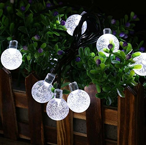 Solar Globe String Lights, 33 Feet 60 Crystal Balls Waterproof LED Fairy Lights, 8 Modes Outdoor Starry Lights Solar Powered String Lights for Home, Garden, Yard Party Wedding (Cool White) by LiyuanQ (Image #5)
