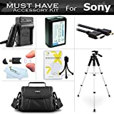 Essential Accessories Kit For Sony Alpha a6000, a6300, a5000, Alpha 7, a7, a7K, a7R Interchangeable Lens SLR Camera Includes Replacement NP-FW50 Battery + AC/DC Charger + Case + 57 Tripod + More