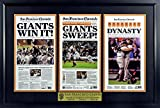 SF Giants 2010-2012-2014 World Series Champion Newspaper Display (Large) Framed