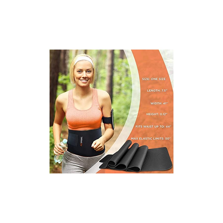 AZSPORT Waist Trimmer Adjustable Ab Sauna Belt to shed The Excess Water, Weight and Tone of mid Section, Black One Size Fits up to 50 Inches