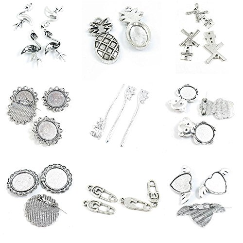 Pinwheel Brooch Pin - 29 Pieces Antique Silver Tone Jewelry Making Charms Pinback Brooch Heart Cabochon Blank Fake Safety Pins Bear Mandarin Duck Hairpin Round Windmill House Pineapple Whooping Crane Birds