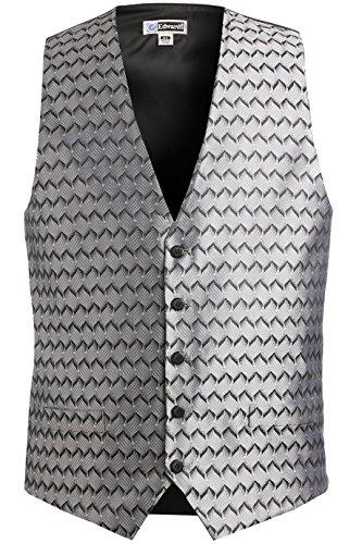 Edwards Garment Men's Swirl Brocade Pattern V Neck Vest, Silver, XX-Large