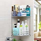 Bathroom Storage Shelf, 2 Tier Powerful Shower Corner Shelves Basket Shower Caddy No Drilling No Holes Stainless Steel Bath Organization Rack (Style B)
