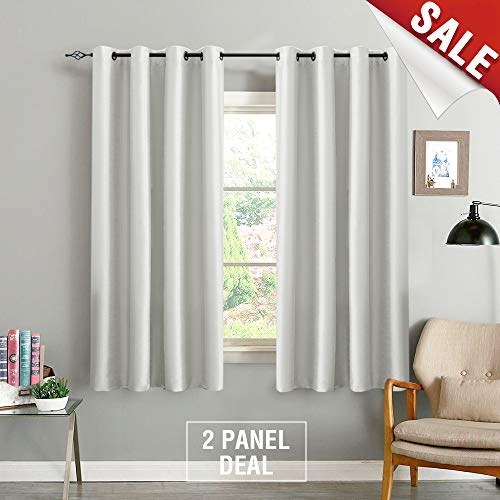 jinchan Blackout Curtain Panels for Bedroom Faux Silk Luxury Dupioni Window Drapes 2 Panels 54 Width x 63 Length Dove Grey