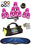Speed Stacks Custom Combo Set - The Works: 12 ZIPPY PINK LEOPARD 4'' Cups, Cup Keeper, Quick Release Stem, Pro Timer, Gen 3 Mat, 6 Snap Tops, Gear Bag & $100 Design Magnetic Credit Card Size Address Book