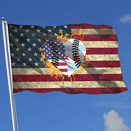 A13UDQ Outdoor Flags Chicago USA Flag Half Baseball