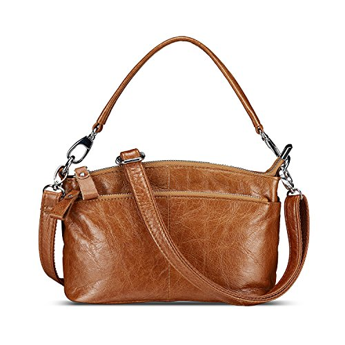 Lecxci Womens Small Multi Zipper Leather Crossbody Bag Top-handle Handbags Travel Purses for Women (Tan) by Lecxci