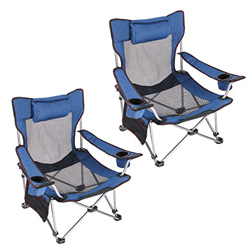 Light Weight Backpacking Reclining/Lounging Camping Folding Chair with Headrest for Outdoor Camping, RV, BBQ, Football Games 2 PCS/set (Standard Size Blue )
