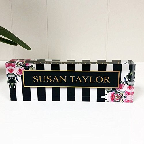 Desk Name Plate Personalized Name on Stripes & Roses Printed on Premium Clear Acrylic Glass Block Custom Office Decor Desk Nameplate Unique Customized Desk Accessories Appreciation Gift]()
