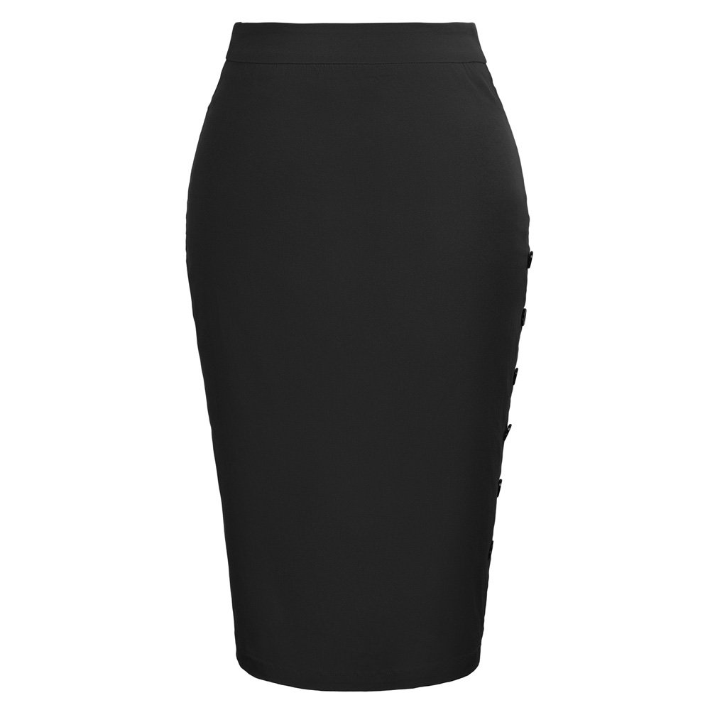Kate Kasin Women's High Waist Stretchy Pencil Skirt Knee Length Black,L