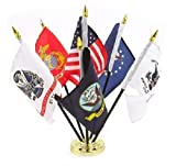 Military Armed Forces 5 Branch Service Miniature Flag Desk Set Table Gold Base BEST Garden Outdor Decor polyester material FLAG PREMIUM Vivid Color and UV Fade Resistant