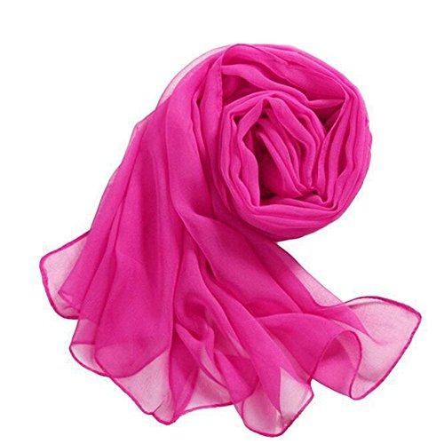 Potato001 Women Fashion Soft Silky Solid Color Long Chiffon Scarf Wrap Shawl Muffler (Hot -