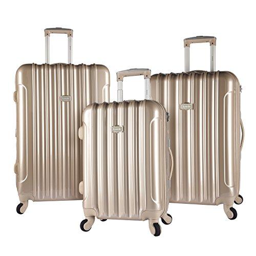 kensie 3 Piece Light Metallic Design 4-Wheel Luggage Set, Pale Gold Color Option by kensie