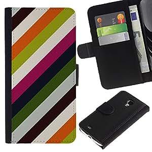 For Samsung Galaxy S4 Mini i9190 MINI VERSION!,S-type® Lines Modern Wallpaper Green White - Dibujo PU billetera de cuero Funda Case Caso de la piel de la bolsa protectora