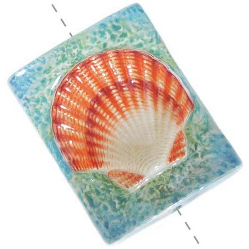 Sea Porcelain - Hand Painted Porcelain Rectangle Focal Bead Orange Scallop Seashell 30x40mm (1)
