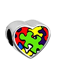 Charmed Craft Autism Puzzle Jigsaw Charm Heart Silver Plated Photo Bead For Bracelet