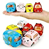 Qrity Push & Pull Toy, Pull Back Car, 6 Pack Assorted Mini Alloy Vehicle Set, Car Toys for Boys Girls Kids Toddler Party Favors, 1:64