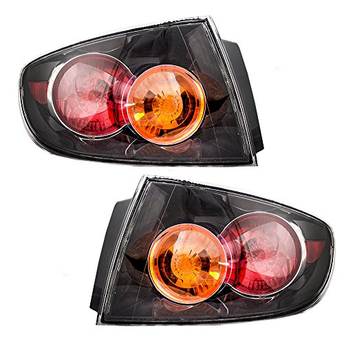Driver and Passenger Taillights Tail Lamps w/Clear Lens Replacement for Mazda 3 Mazda3 Sedan BN8R51160E BN8R51150E - 06 Mazda 3 Sedan Tail