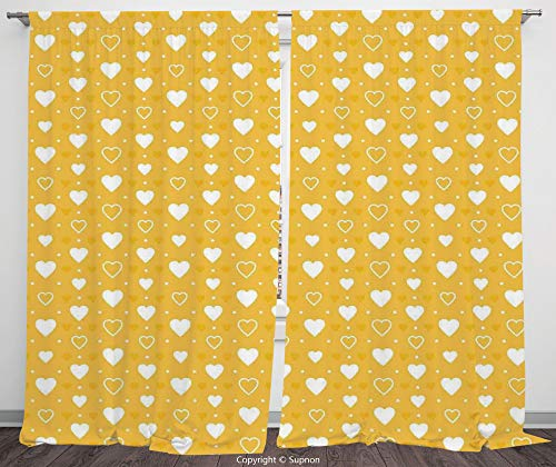 Rod Pocket Curtain Panel Polyester Translucent Curtains for Bedroom Living Room Dorm Kitchen Cafe/2 Curtain Panels/84 x 84 Inch/Yellow Decor,Full and Empty Heart Shapes with Little Dots and Tiny -