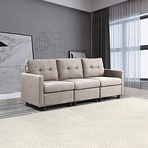 OuchTek 3 Seat Modern Accent Fabric Sofa Comfy Upholstered Arm Chair Living Room Furniture, Grey