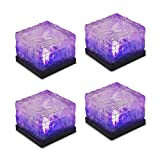 Tomshine 4Pcs Creative Glass Stone Ice Cube with Light Sensor Solar Powered Crystal Brick LED Night Lamp for Garden Courtyard Pathway Patio Pool Pond Outdoor Decoration Xmas