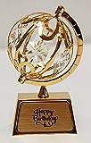 """Happy Birthday"" 24k Gold Plated Spinning Globe"